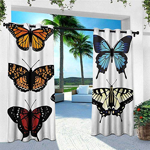 - leinuoyi Swallowtail Butterfly, Outdoor Curtain of Lights, Five Different Butterflies Colorful Monarch Lady Insect Wings Spring, for Patio W84 x L96 Inch Multicolor