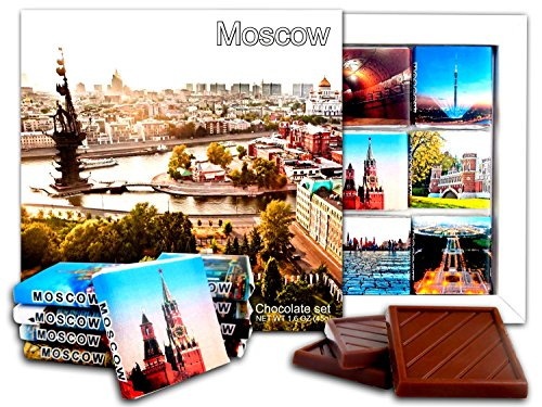 DA CHOCOLATE Candy Souvenir MOSCOW Chocolate Gift Set 5x5in 1 box (Sunset) (Manezhnaya Square)