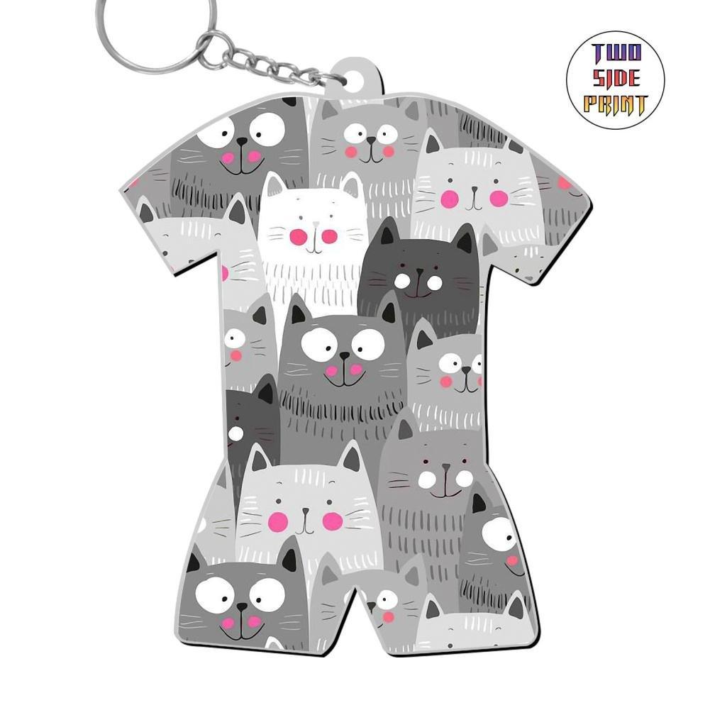 Zinc Alloy Metal Dorm Key Ring,Print Black White Cats,Gift For Boys Girls