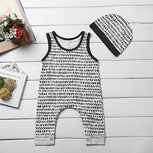 Baby Boy Girls Sleeveless Button Harem Romper Jumpsuit + Hat (90 (12-18M), Grey)