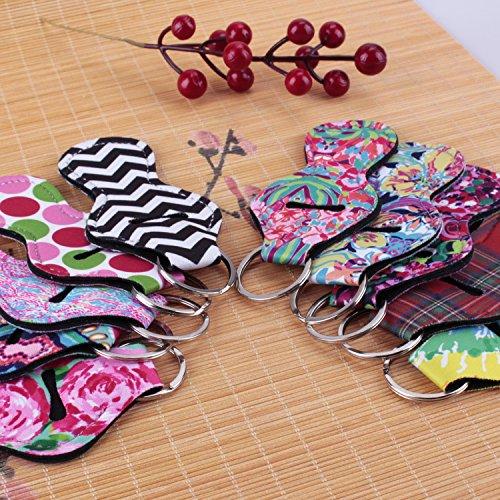 10 Pieces Neoprene Chapstick Holder Keychain Lipstick Holder Keychains Chapstick Key Chain Holder, 10 Different Vibrant Prints Lip Blam Keychain by Etyhf (Image #5)