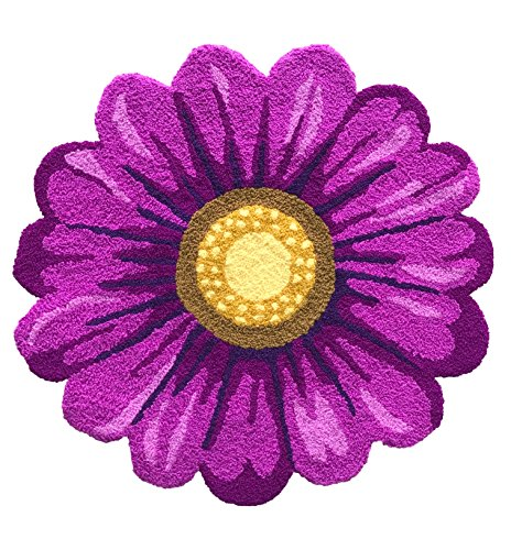 MeMoreCool Handmade Needlepoint Sunflower Area Rugs Home Decoration Carpet Washable Anti-slip Mats, 25 by 25 , Purple