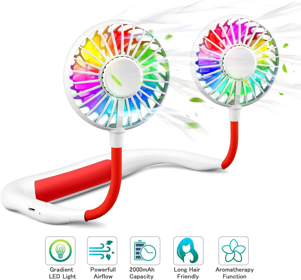 Personal fan, Anyfun Hands Free Neck Fan USB Portable Fan Rechargeable with Colorful LED Flashing,2000mAh Battery,360° Rotation,Lower Noise but Strong Airflow for Sport Travel Fishing Camping (White)