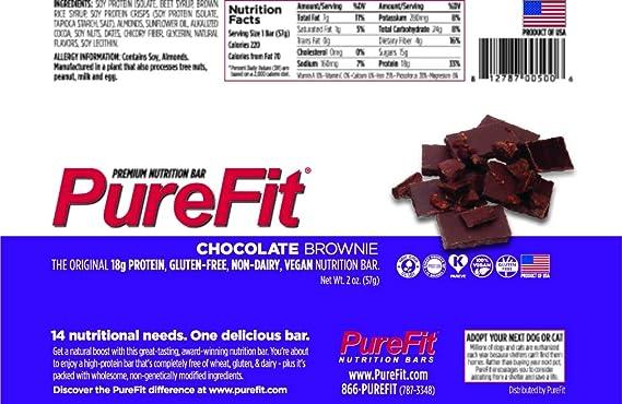 PureFit Nutrition Bar Gluten Free Chocolate Brownie -- 15 Bars by PureFit