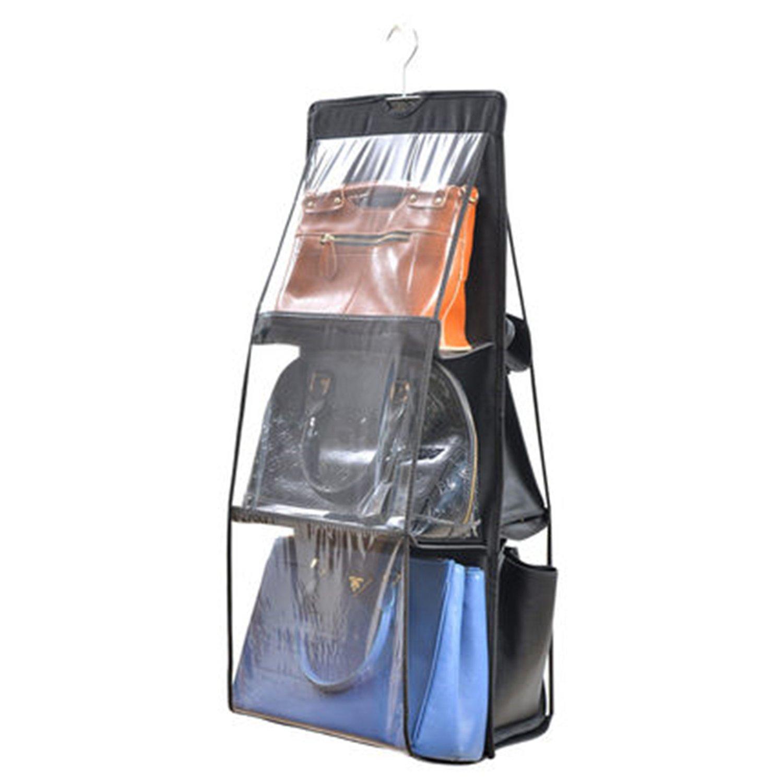 6-Fächer Taschenaufbewahrung Bag Storage Handtasche Organiser Closet Hängende Platzsparend Staubbeutel Aufbewahrung (grau) Maison K.W
