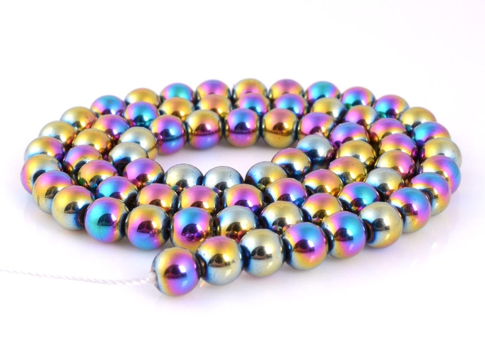 jennysun2010 10mm Natural Non-Magnetic Hematite Gemstone Round Ball Beads 16 Inches Metallic Multi-Colored 1 Strand for Bracelet Necklace Earrings Jewelry Making Crafts Design Healing