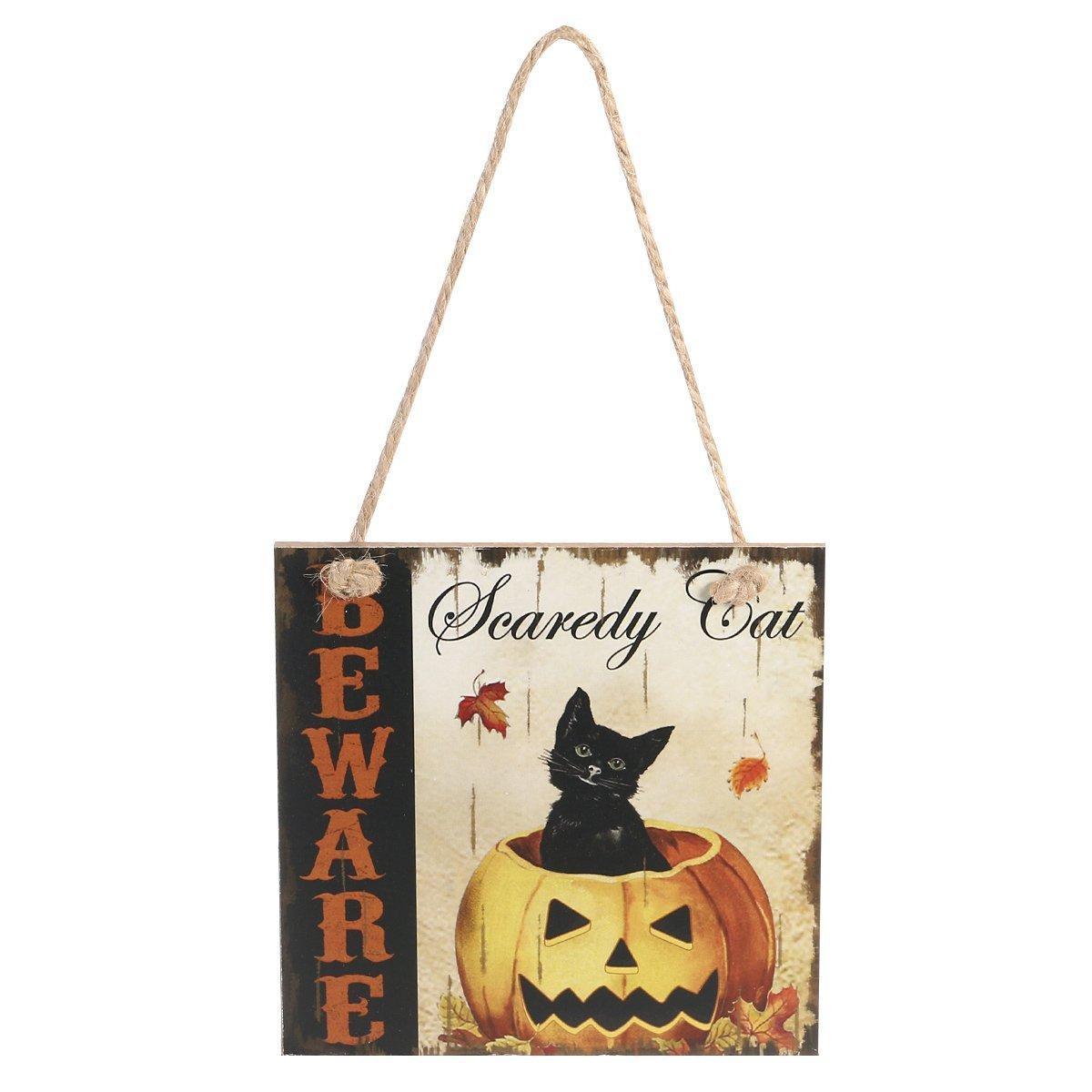 Orange smiling pumpkin black kitty cat with witch hat door hanger
