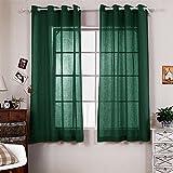 R.LANG Solid Grommet Top Faux Linen Window Panels for Livingroom 1 Pair Dark Green 52″W X 95″ L (Set of 2 Panels) For Sale
