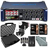 Zoom F8 Multi-Track Field Recorder Deluxe Accessory Bundle w/ Case + Cables + 2X Pro 32GB + Batteries & Charger + Fibertique Cleaning Cloth