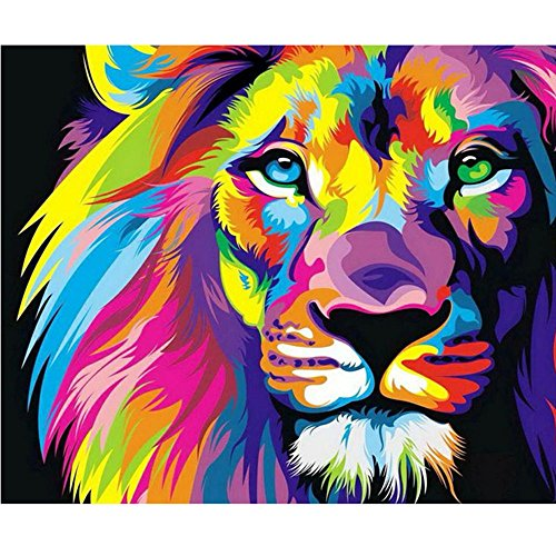 Moohue Needlecraft Cross Stitch Kits Beginner Colorful Animal Lion Embroidery Pattern 14CT Aida Cloth DMC Cotton Thread Needles Wall Decor Craft Supplies (Lion)