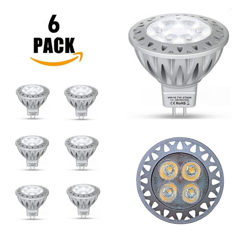 LED 7W LED MR16 Spotlight, GU5.3 LED Lamp Bulb, 50W Halogen Equivalent, AC/DC 12V, 560 Lumen, 2700K Warm White, 38° Beam Angle, Die-Casting Aluminum, 6 Pack