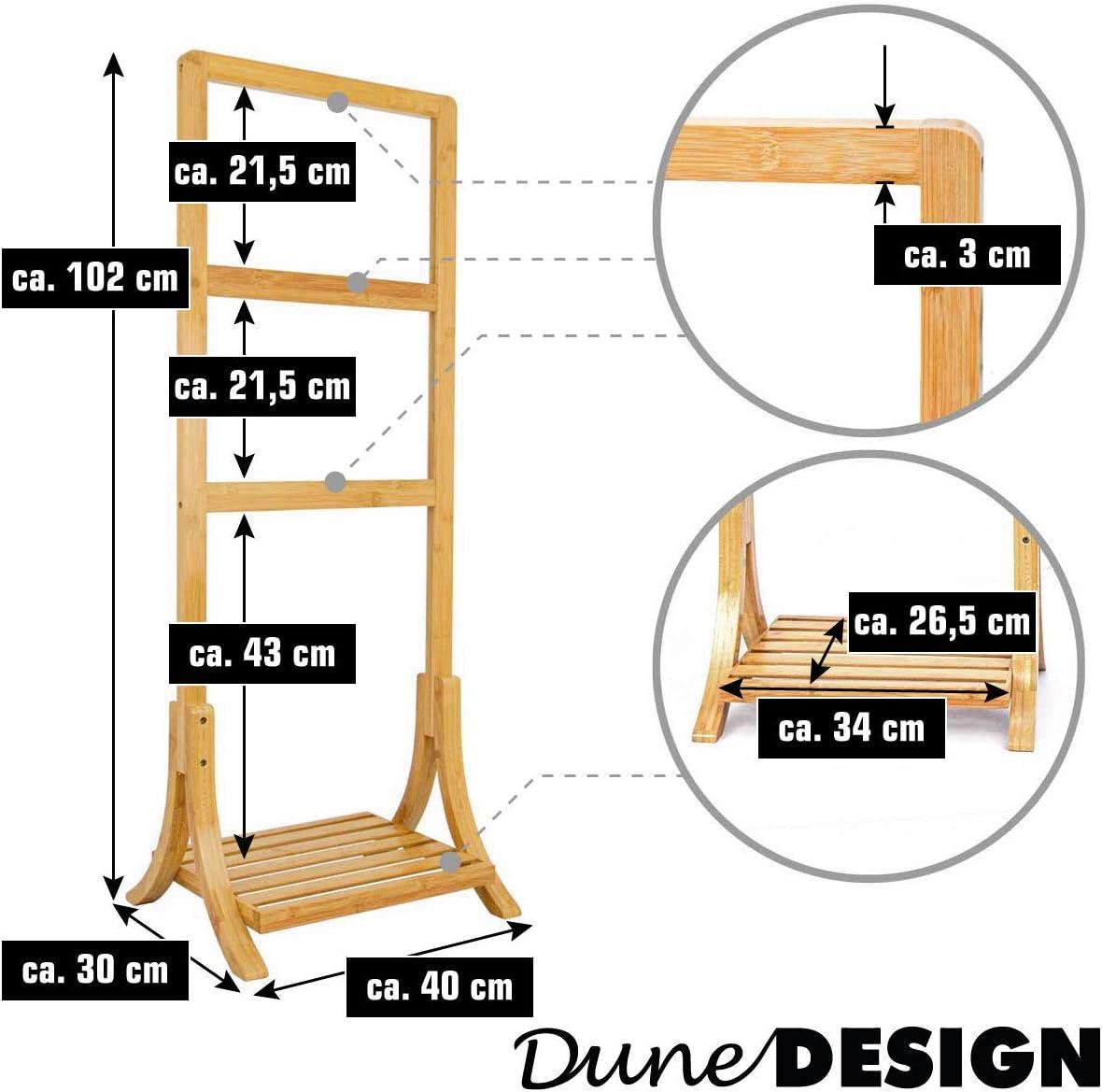 40x30x102cm S/èche Serviettes sur Pied Salle de Bain DuneDesign Porte Serviette en Bambou Durable