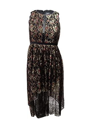 0e26d502a5df Amazon.com: Adrianna Papell Women's Petite Metallic Lace High-Low Gown  (14P, Black/Gold): Clothing
