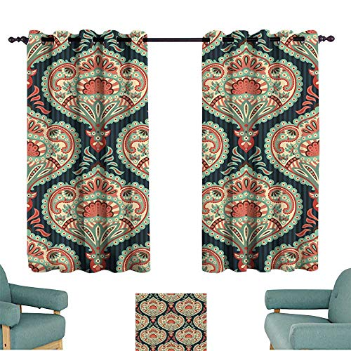 Warm Family Fashion Curtain Oriental Seamless Paisley Wallpaper Pattern for Living, Dining, Bedroom (Pair)
