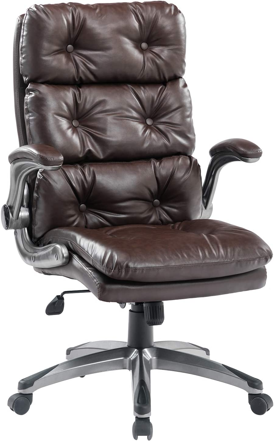 BOSMILLER Office Chair High Back Leather Executive Computer Desk Chair - Adjustable Tilt Angle and Flip-up Arms Swivel Chair Thick Padding for Comfort and Ergonomic Design for Lumbar Support, Brown