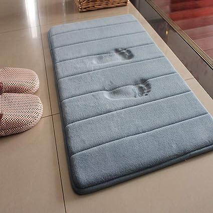 LiGG Tappetino da bagno antiscivolo assorbente 30 x 50 cm grigio