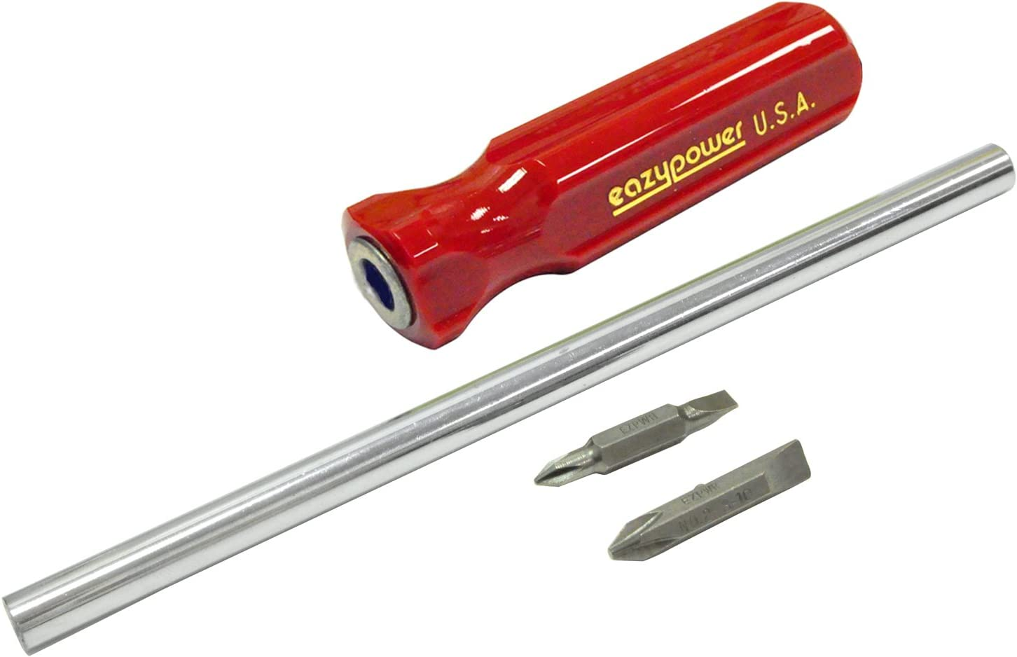 Eazypower 87751 1-Pack Red 11-inch 4-in-1 Molded Handle #1//4-5 1//4-inch Hex #2//8-10 Phillips//Slotted Screwdriver