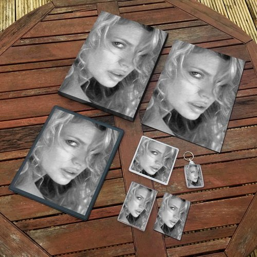Kim Basinger - Original Art Gift Set #js001 (Includes - A4 Canvas - A4 Print - Coaster - Fridge Magnet - Keyring - Mouse Mat - Sketch Card)