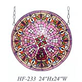 HF-233 24 Inch Rural Vintage Tiffany Style Stained Glass Church Art Magnificent Peacock Feathers Round Window Hanging Glass Panel Suncatcher