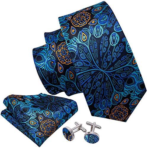 Barry.Wang Solid Blue Silk Ties Floral Necktie Set with Handkerchief Cufflinks -