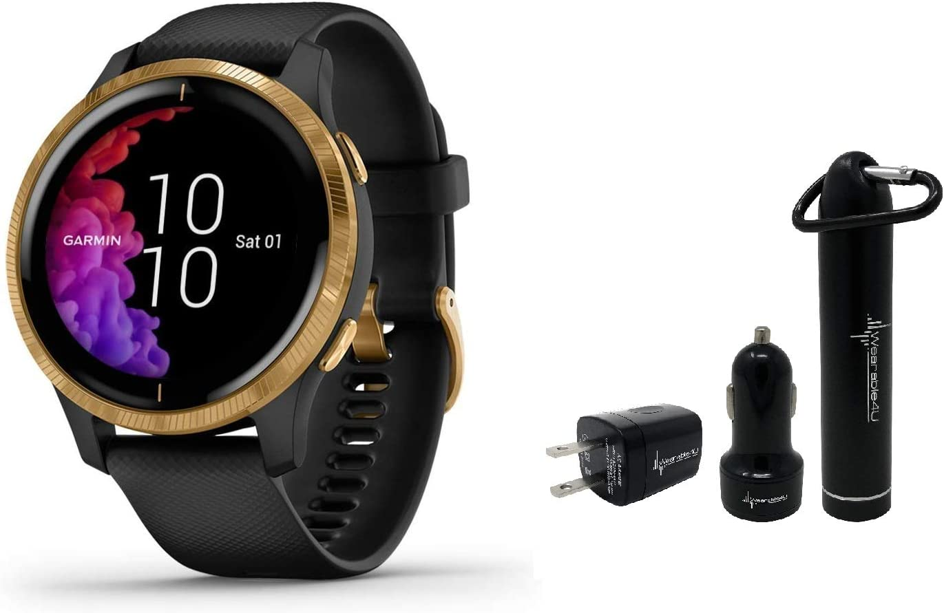 Garmin Venu GPS Smartwatch with AMOLED Display and Wearable4U Power Pack Bundle Black Gold