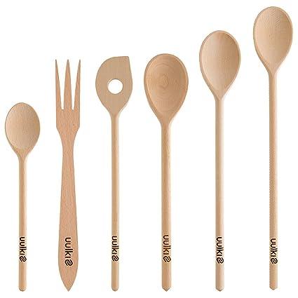 Uulki 6 pezzi Cucchiai da Cucina Set di Legno faggio Europa: 4 ...
