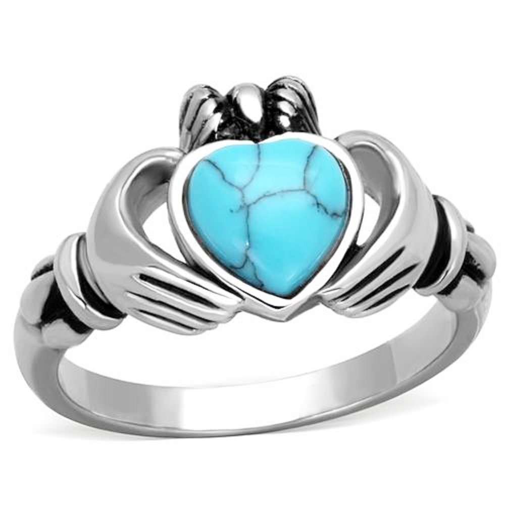 Women's Turquoise Stainless Steel Irish Claddagh Promise Friendship Ring Band Size 5-10 VIP Jewelry Co VJC1770