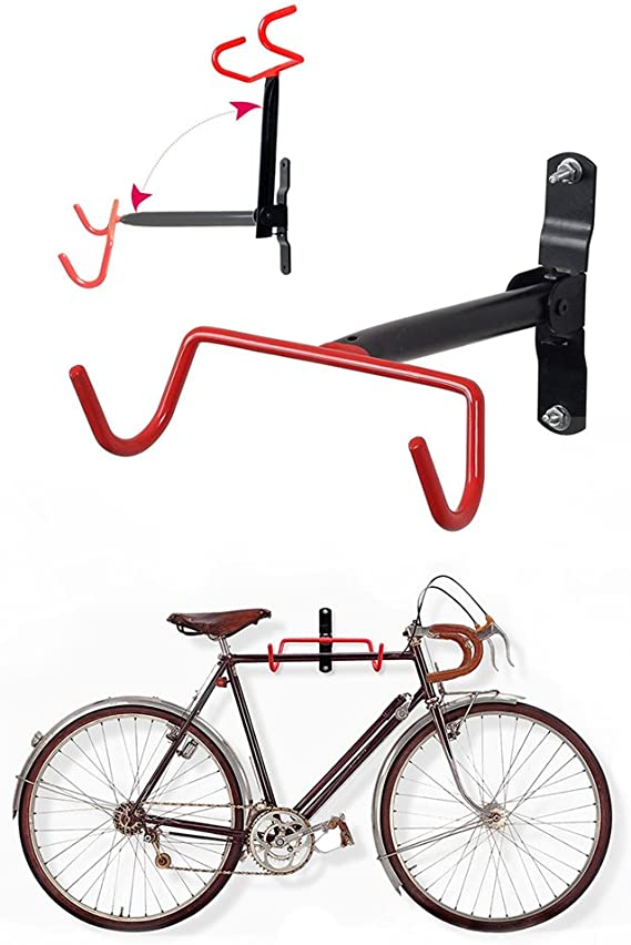 Maker2 Bike Rack Garage Wall Mount Bike Hanger Storage System Vertical Bike Hook for Indoor Shed Easily Hang//Detach Heavy Duty Holds up to 65 lb with Screws Black