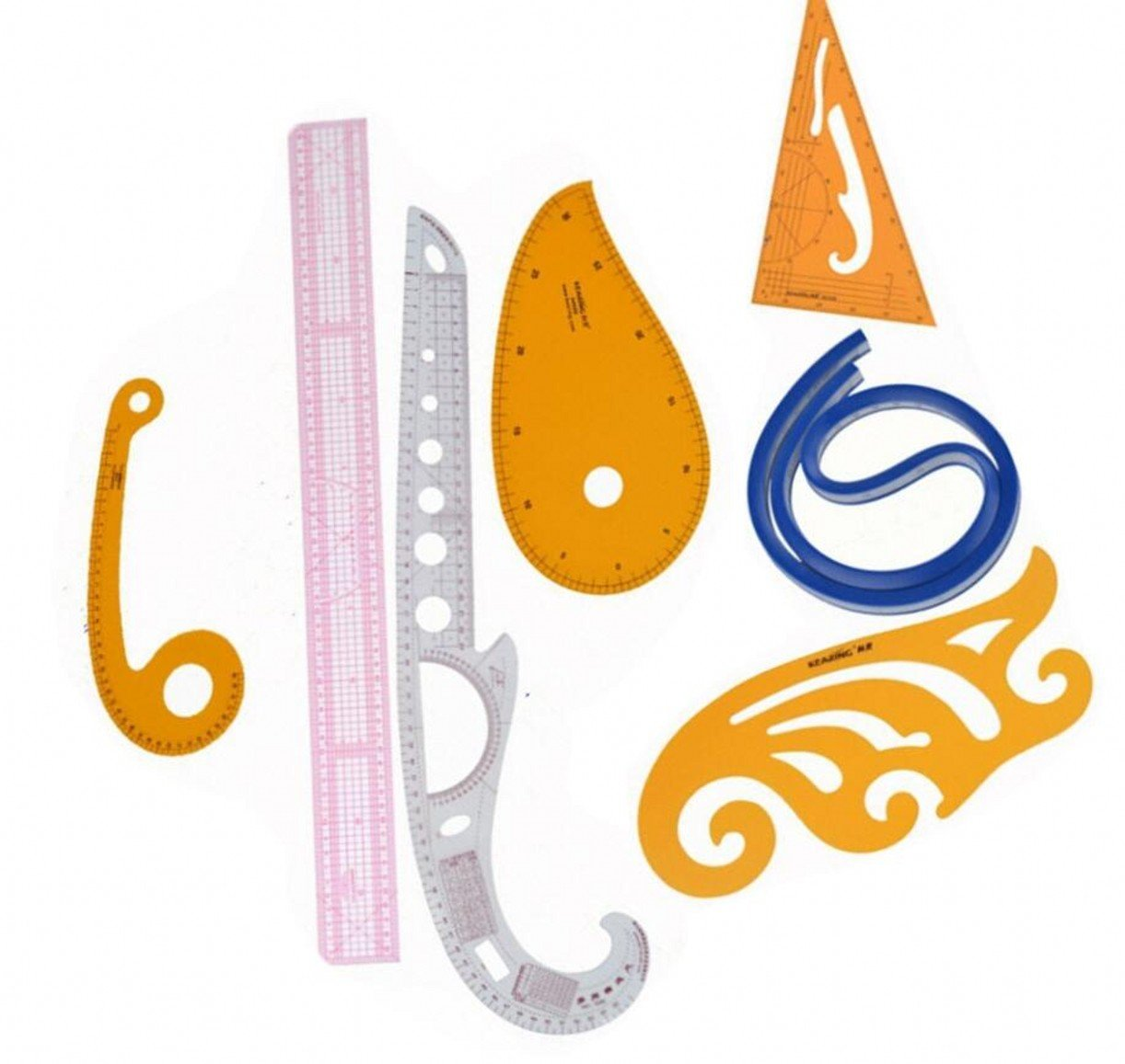 CHENGYIDA Practical 7 Styling Ruler French Curve Set French Curve, Multi-purpose Rolling Ruler Set by CHENGYIDA