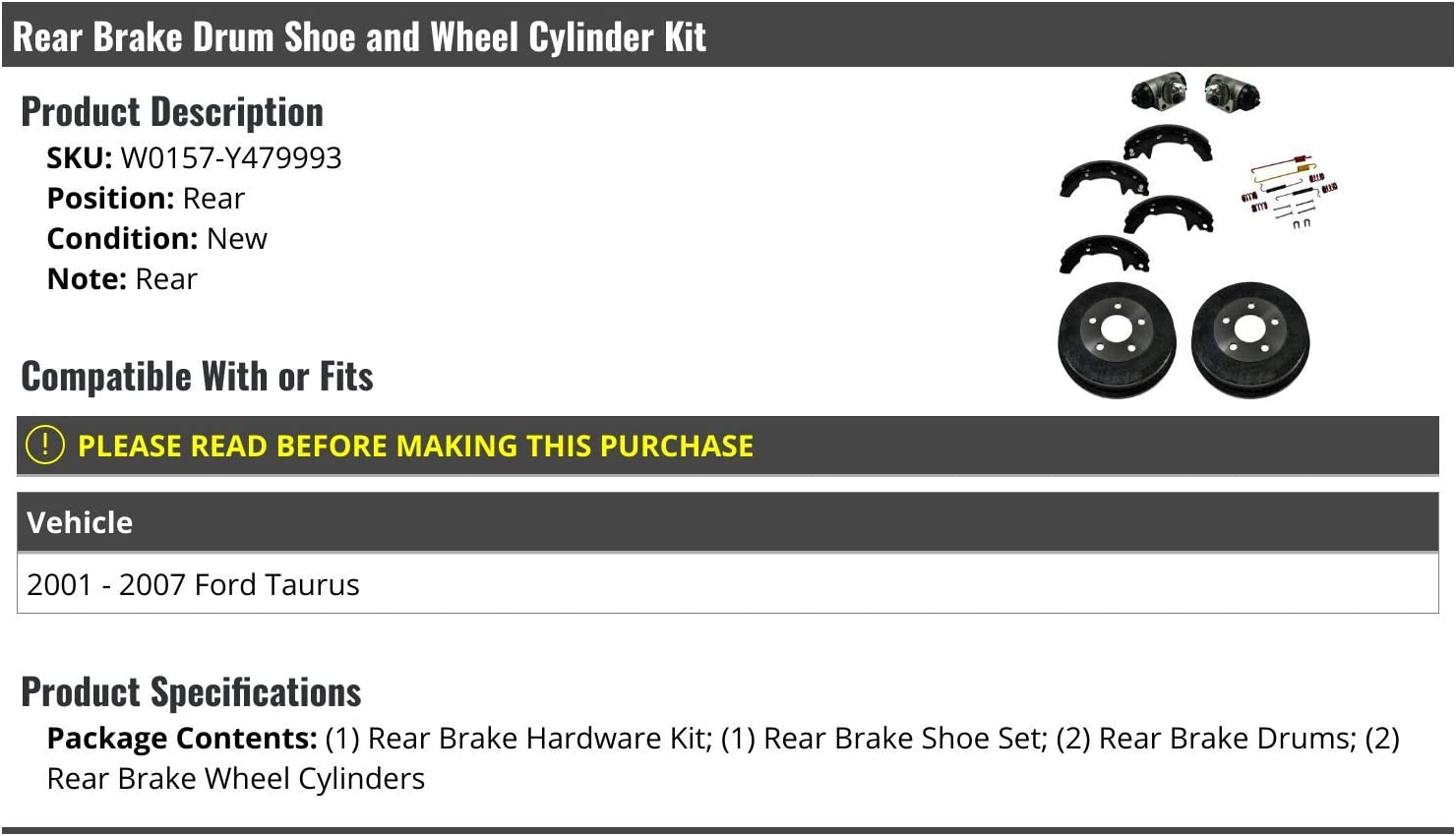 Rear Brake Drum Brake Shoes and Wheel Cylinder Kit with Hardware Compatible with 2001-2007 Ford Taurus