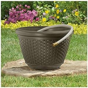 100 Foot Resin Wicker Garden Water Hose Caddy Storage Holder Pot Water Outdoor Decorative, Java