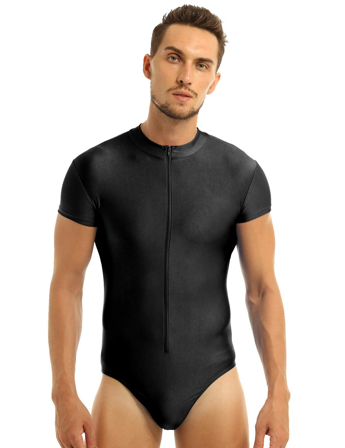 inhzoy Men's Short Sleeve Zipper Front Ballet Dance Leotard One Piece Gymnastics Bodysuit Black Small by inhzoy