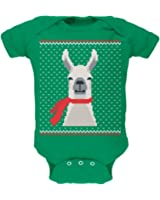 Ugly Christmas Sweater Big Llama Kelly Green Soft Baby One Piece
