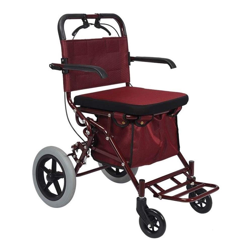 Rollator Walker Petite,Scooter Crutch Alternative in Seats and Shopping Baskets Auxiliary Walking Safety Walker
