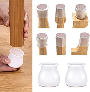 WHATOOK Chair Leg Protectors: 32 PCS Anti-Slip Silicone Floor Furniture Protection Covers with Felt Pads for Hardwood Floors, Feet Caps Prevent Floor Scratches Reduce Noise
