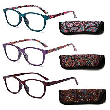 b7ec5c74af9 REAVEE Reading Glasses 3 Pair Quality Spring Hinge Stylish Readers Fashion  Women Glasses for Reading Colorful