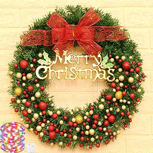 Chnaivy 24 Inch Christmas Wreath Door Wall Ornament Artificial LED Light Garland with Red Berries and Bowknot Bells Gifts for Christmas Party Deco