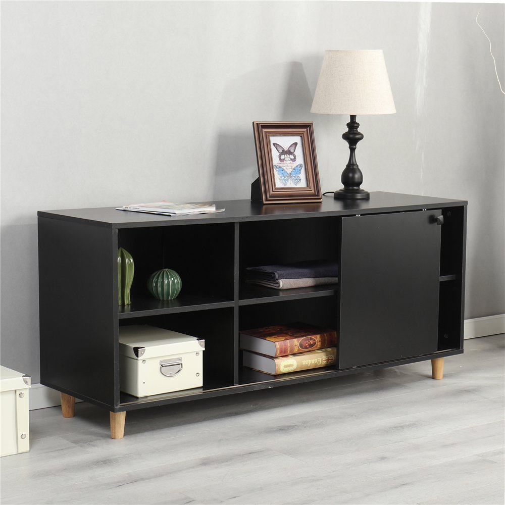 Dland TV Stand 53'', Composite Wood Board, 2-Shelf & 2-Cube & 1-Door Entertainment Center Console Storage Cabinet for Living Room Bedroom, WK-GZ002-B Black, 1 Pack