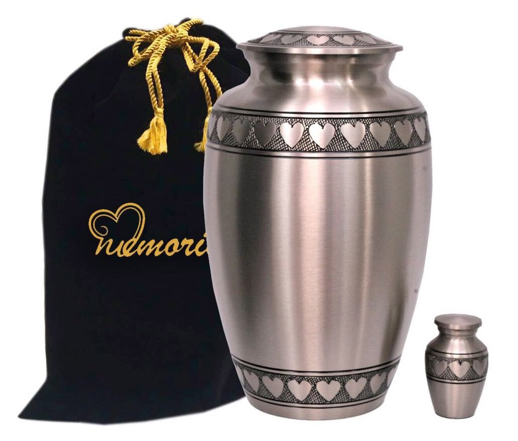 MEMORIALS 4U Classic Pewter with Heart Band Cremation Urn - 100% Handcrafted Large Pewter Heart Urn - Solid Brass Affordable Pewter Urn for Human Ashes - Adult Funeral Urn Deal with Free Keepsake by MEMORIALS 4U
