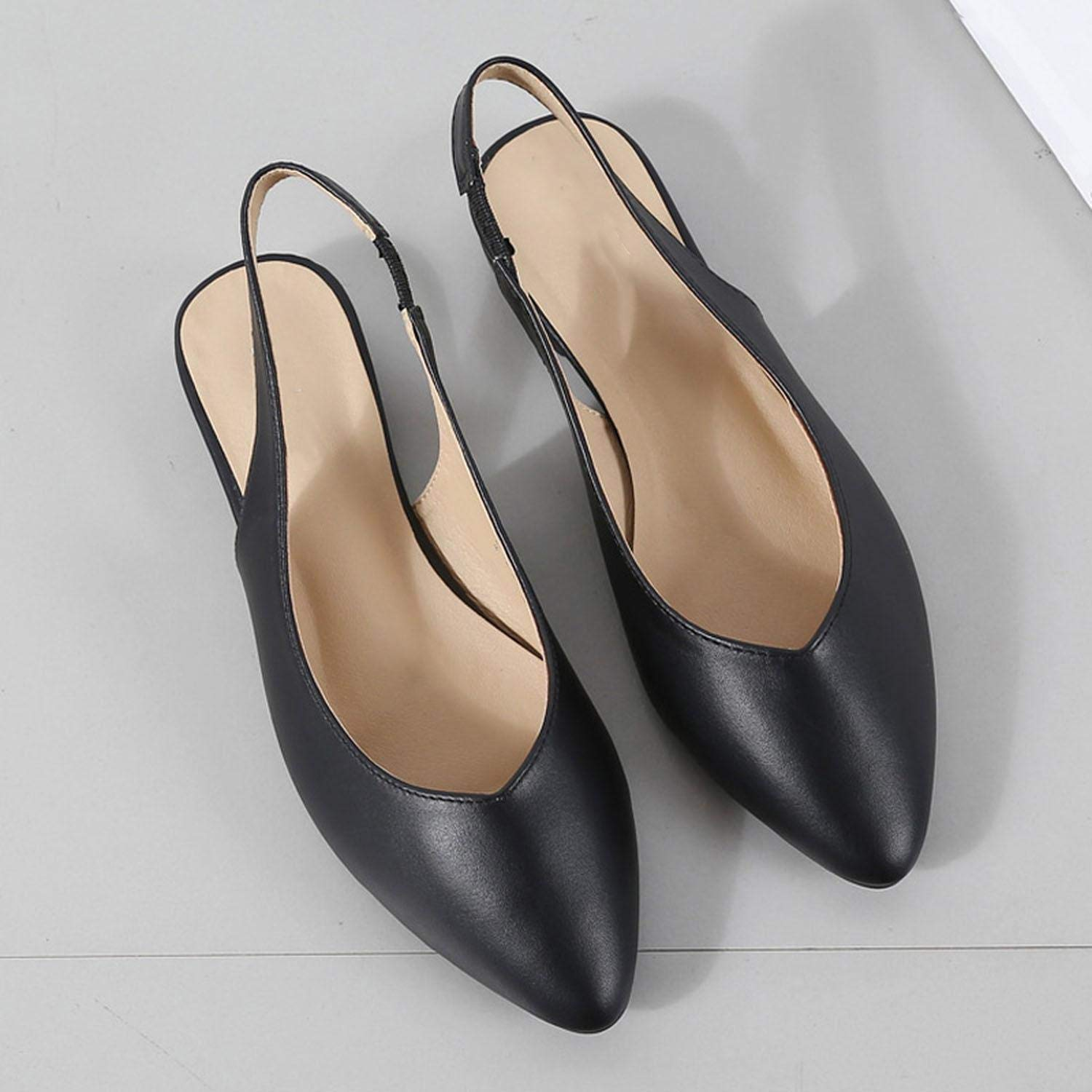 Axd-Home Shallow Mouth Low Sandals Woman Clear Heels Black Shoes