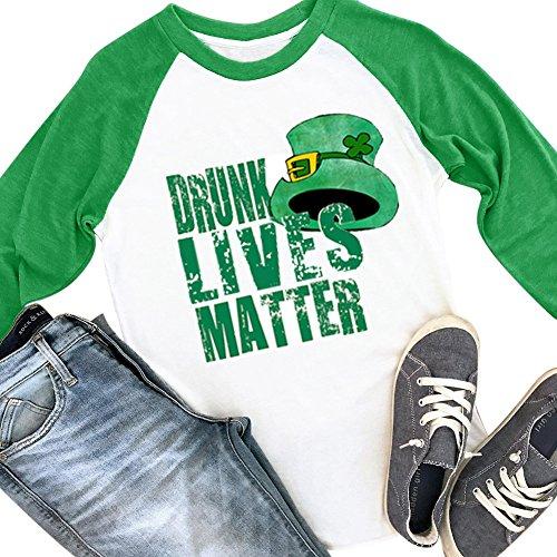 Womens Long Sleeve Irish Green Shirt ST. Patrick's Day Cotton Raglan Baseball Tee Drunk Lives Matter M (Nearest My Shop)