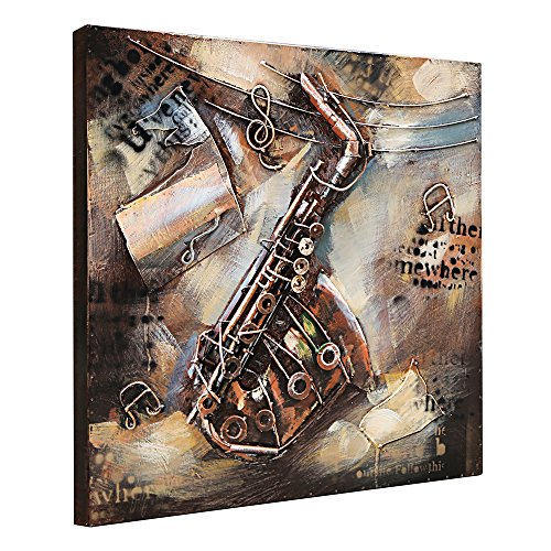 3d Metal Art (Asmork 3D Metal Art - 100% Handmade Metal Unique Wall Art - Stereograph Oil Painting - Home Decor - Ready to Hang Sculpture Artwork 3D Picture (Saxophone (24x24 inch)))