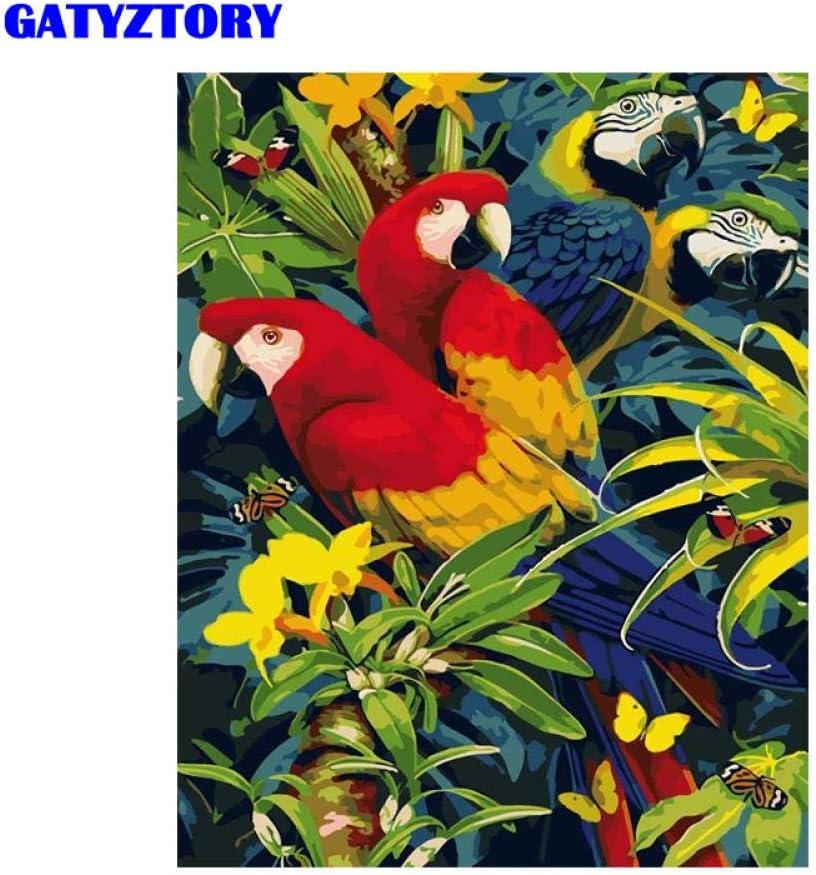 Yrhfys Pintura Al Óleo Cuadro Loro Pintura De Bricolaje Por Números Animales Moderno Hogar Pared Arte Lienzo Pintura Hogar Decoraciones Arte-40 * 50cm(Sin marco)