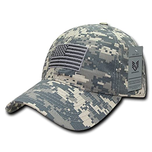 fcaf6720131 Ripstop USA US American Flag Embroidered Washed Cotton Low Profile Relaxed Cap  Hat (ACU Camo