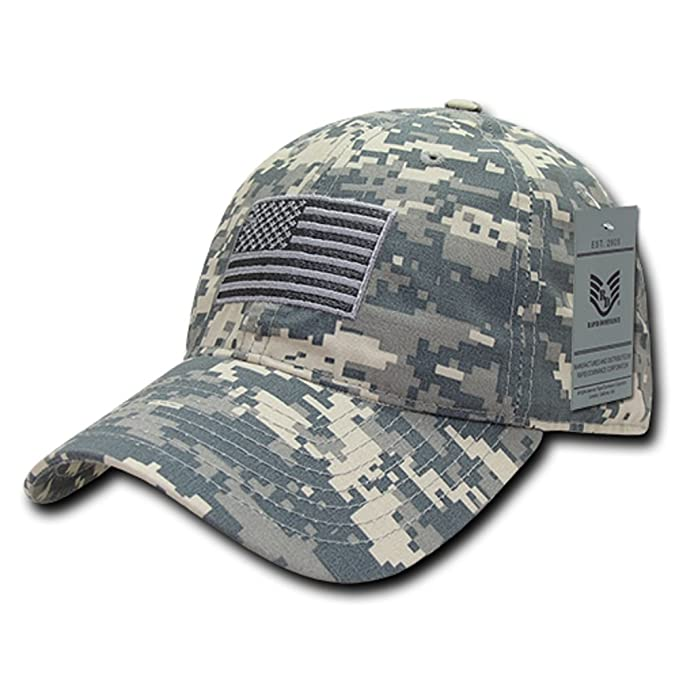 307feb2e16f68a Ripstop USA US American Flag Embroidered Washed Cotton Low Profile Relaxed Cap  Hat (ACU Camo