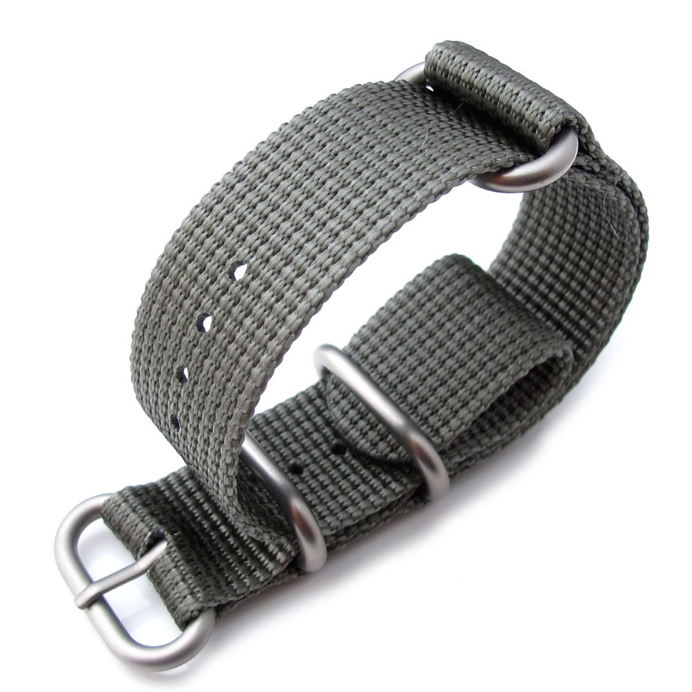 MiLTAT 20mm 3 Rings Zulu military watch strap 3D woven nylon armband - Grey, Brushed Hardware