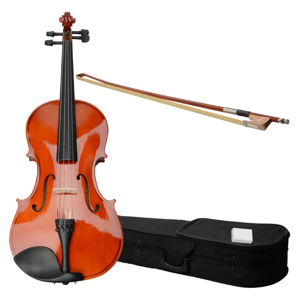 VIPITH 15'' Acoustic Viola Case Bow Rosin Nature Color