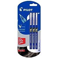 Pilot V7 Liquid Ink Roller Ball Pen - Blue Body, Blue Ink (Pack of 3)