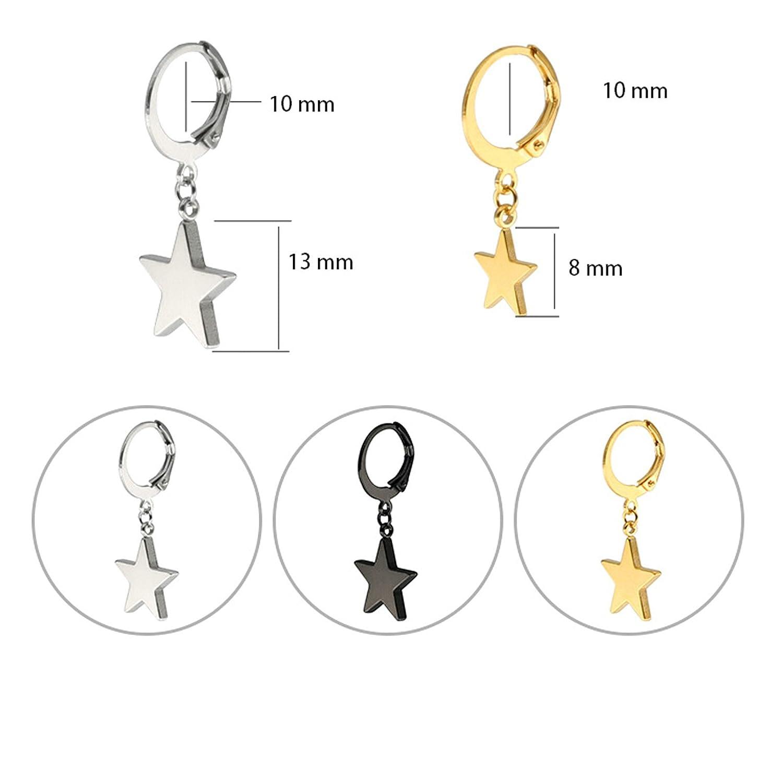 Beydodo Stainless Steel Earrings Dangle Star Earrings Dangle 3 Pairs//6Pcs Dangle Earrings Star