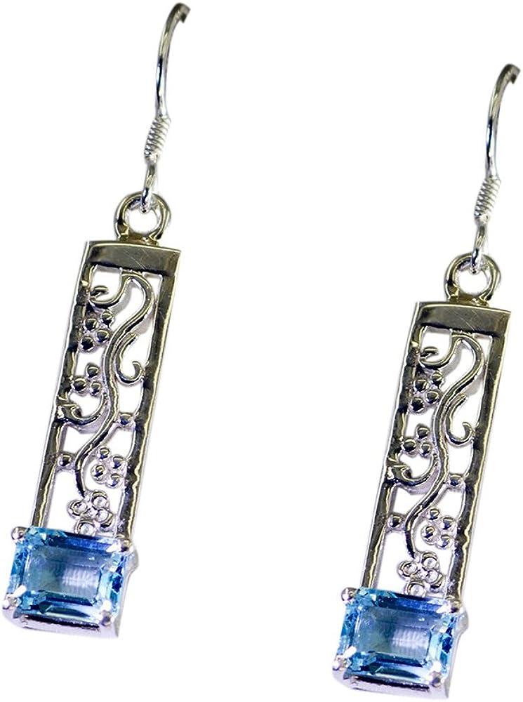 Gemsonclick - Pendientes de plata natural con topacio azul para mujer, regalo de ley de diciembre con piedra natal